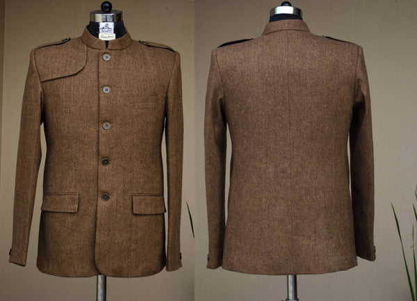 Woody brown casual men's jacket-front and back view