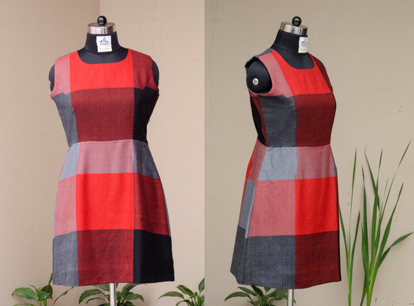 Red and Black winter dress with Big Checks-Front and Back view
