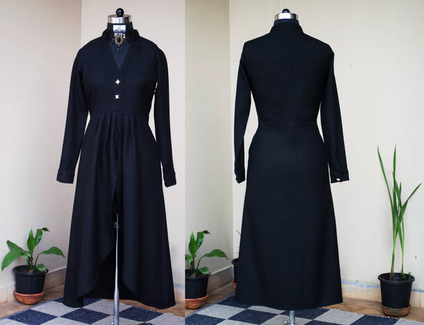Black Merino Wool Gown-Front and Back View