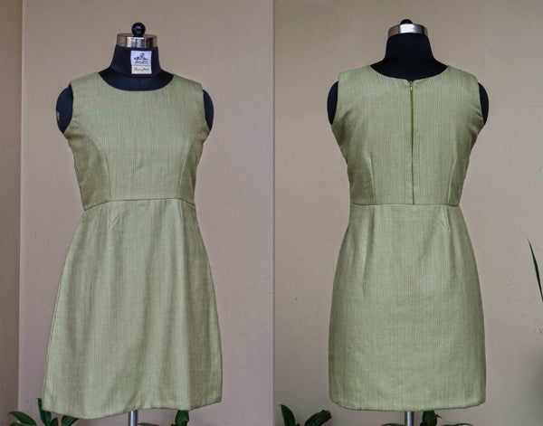Olive sheath dress-Front and back view