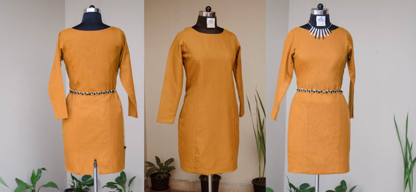 Broad Neck Mustard Sheath Dress-Front and back view