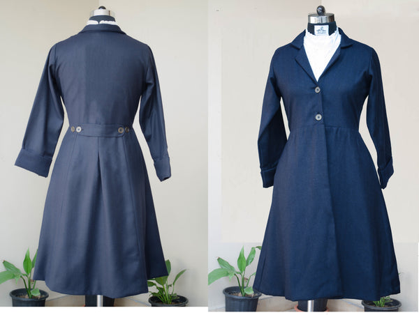 Women's Navy Blue tweed coat-front and back view