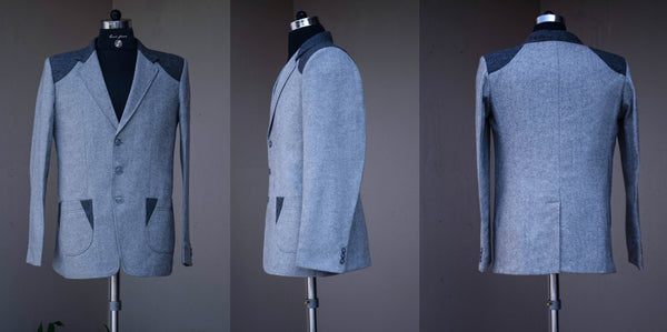 Grey Tweed Jacket-Front and back view