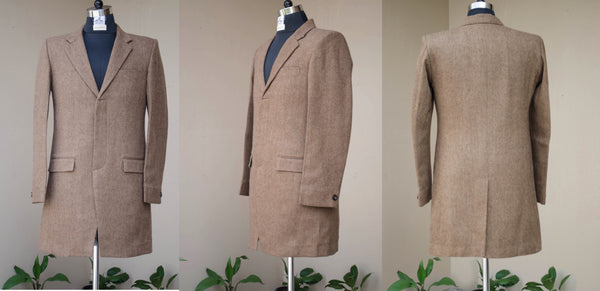 Brown Tweed Long Blazer-Front and back view
