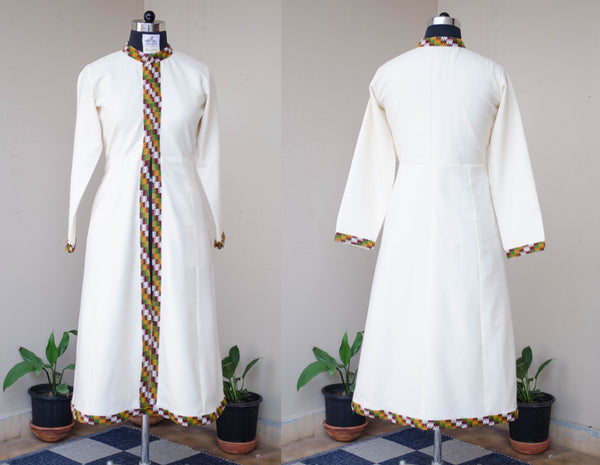 Women's white winter gown with Colorful border-Front and Back View
