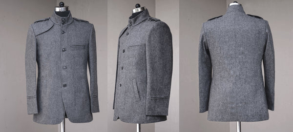 Dark Grey Men's casual Jacket-front and back view
