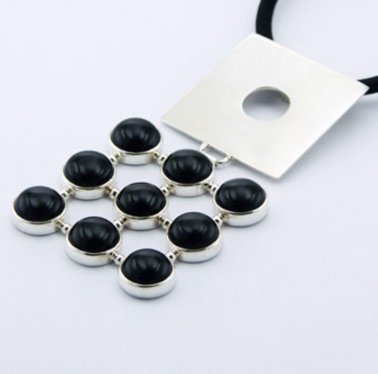 Large Black Agate Gemstone Sterling Silver Pendant