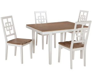 White & Natural Weathered Wood Top Table & Chairs