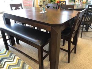 DIAMOND PUB TABLE W/4 CHAIRS AND BENCH