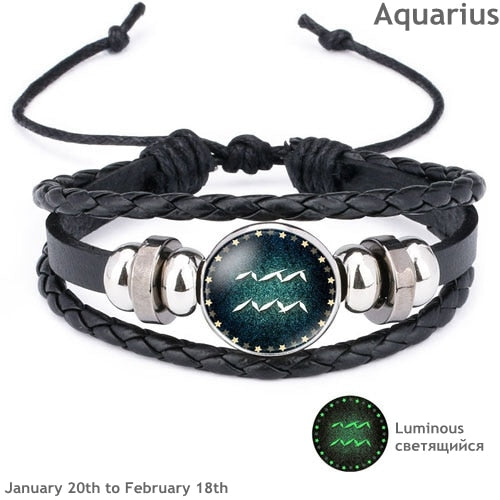 12 Constellation Luminous Bracelet Men Leather Bracelet Charm Bracelets for Men Boys young female Girl Jewelry add-ons