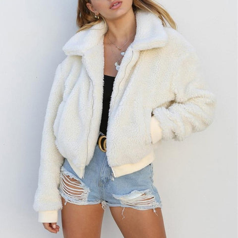 Faux Fur young lady teddy Jacket sleeved Outerwear Coat