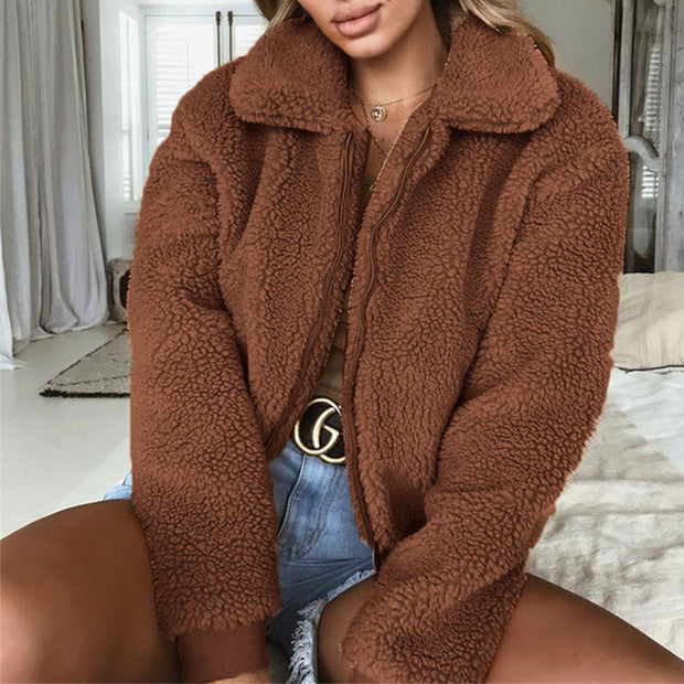 Faux Fur Coat young lady