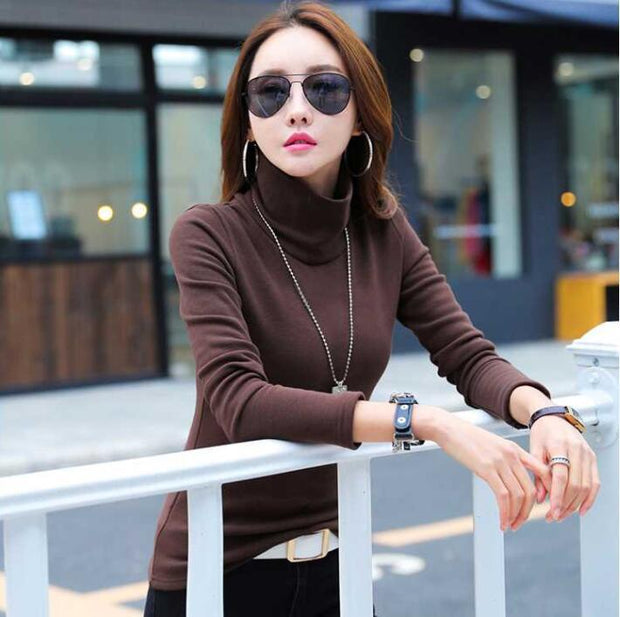 Autumn and winter high collar plus velvet bottoming shirt female long sleeve thickening slim black t-shirt 2018 new autumn clothes warm small shirt
