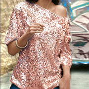 Autumn new sleeves T-shirt female solid color sequins slanting shoulders in the sleeves loose bottoming shirt Wish sizzling explosion models