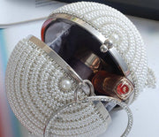 Diamond hanging thread pearls Beaded clutch bag