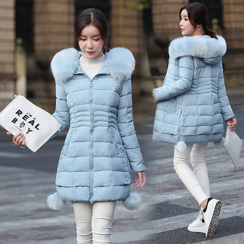 Faux Fur anoraks female Down Jacket cold season