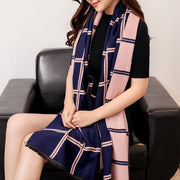 Plaid scarf warm air conditioning shawl dual-use female autumn and winter new an and American British wind imitation cashmere long thick