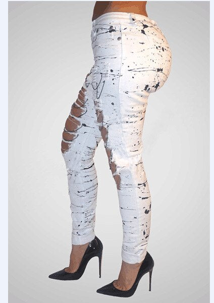 Mid-waist hollow metal chain Trousers Stretch Jeans