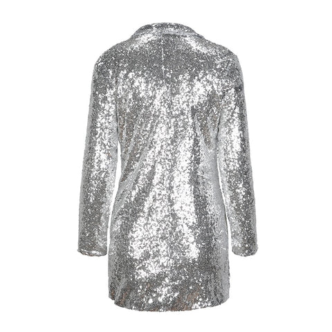 Silver Sequined Coats Turn-down neck band sleeve Outwears cardy Jackets