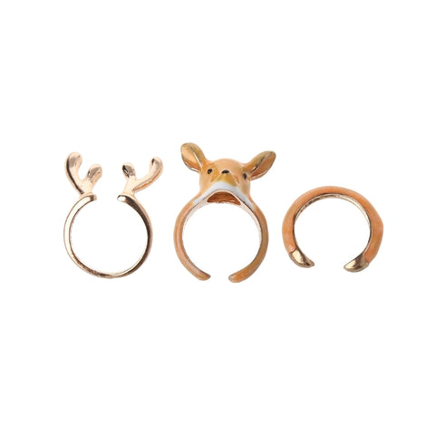 Stack Enamel Squirrel Elk Swan Animal Ring For young lady