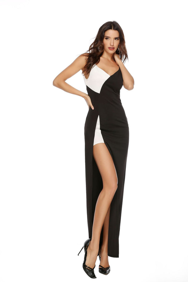 and the  cross-border   dress   attractive v shape neck black and white stitching sling split dress dress