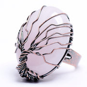 Finger Natural marble Egg Shape Jewelry Gift Souvenir ring