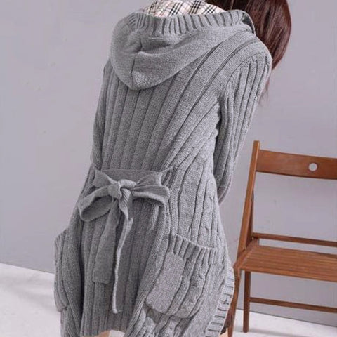 spring and season Korean womens mid-long twist sweater jacket