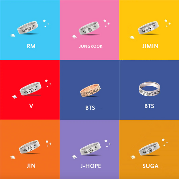 BT21 Bias Engraved Ring