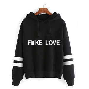BTS Fake Love Striped Hoodie