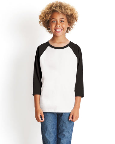 NL3352 Youth CVC ¾ Sleeve Raglan Tee