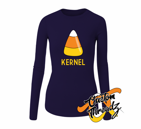 Ladies Candy Corn Kernel Long Sleeve