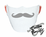 Gray Mustache Face Mask
