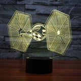 Lampe 3D - Chasseur TIE-Lampe Hologramme Star Wars-Holograbme