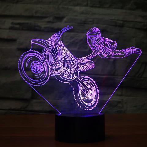 Lampe 3D - Freestyle Moto Cross-Lampe Hologramme Sport-Holograbme