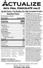 Actualize Keto Meal V3 Chocolate Nutrition