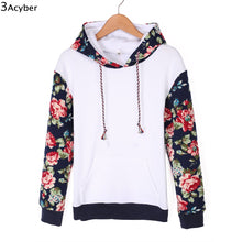 2017 Sweatshirt Women Hoodies Patchwork Flower Printed Pullover Sweatshirts Full Sleeve Autumn Women Hoodies Tracksuit with Hat