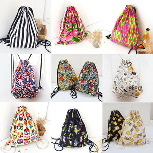 Female Travel Canvas String Drawstring Backpack Cinch Sack Sling Bag Gym Tote