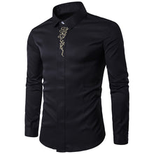 High Quality Men's Shirts 2017 Fashion Turn Down Collar Long Sleeve Embroidery Dress Shirts Men Business Work Tops Shirt S-2XL