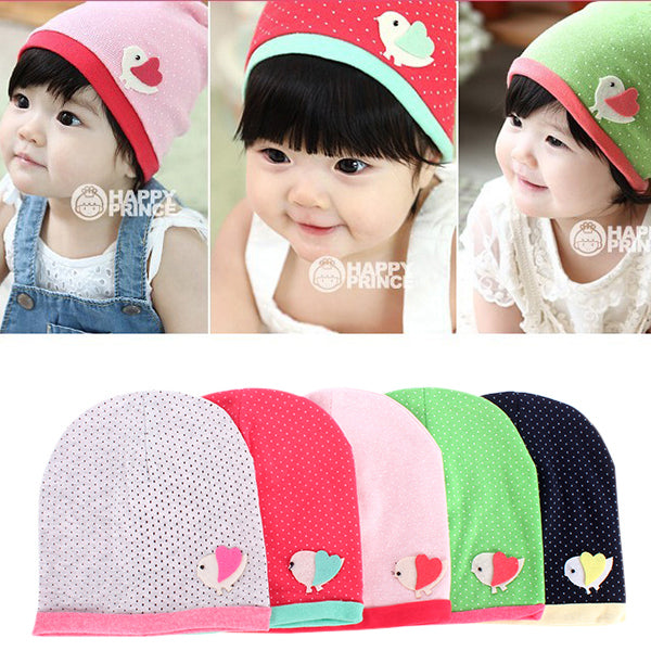 Spring/Fall Girls Kids Baby Soft Cotton Birds Pattern Dots Candy Color Beanie Hats Caps
