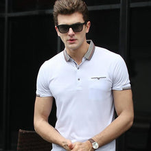 Men Short Sleeve Polo Shirt 2017 New Striped Turn-Down Collar 100% Cotton Breathable Material Male Polo Shirts MTP433