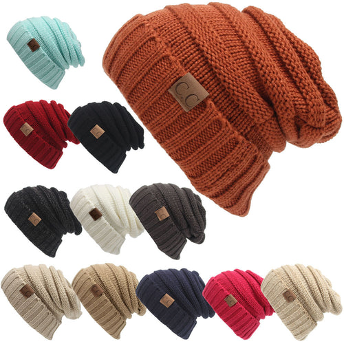 Winter Warm Hat  Labeling  Knitted Beanie Casual Solid Color Hip-Hop Skullies Bonnet Gorro Bone Hat For Men Women