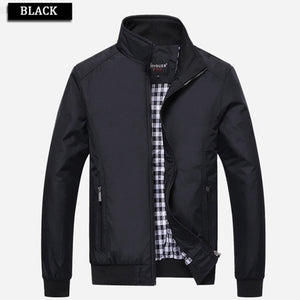 Large Size 2017 Fashion Mens Plus Size Zipper Casual Stand Collar Jacket Solid Overcoat Waterproof Coat Mens Clothes