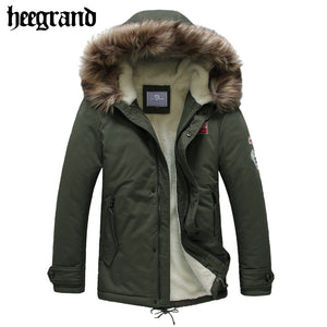 HEE GRAND 2017 New Men Casual Lamb Wool Parkas Male Warm Hooded Cotton Coats Man's Thick Solid Epaulet Winter Jacket MWM1466