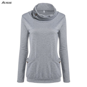 FANALA Sweatshirt Hoodies Women Pullover Cowl Neck Winter Cotton Blend Gray Tracksuit Women Coat With Pocket sudaderas mujer