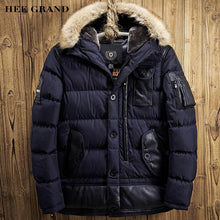 HEE GRAND Men Casual Parkas 2017 New Warm Padded With Fur Hat Autumn Winter Spliced Pockets Design Male Coat Size M-XXL MWM1661