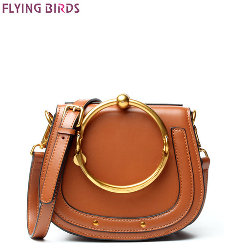 FLYING BIRDS Genuine Leather bag famous brands Women's handbag Designer Saddle Messenger bags High Quality tote Shoulder Bag