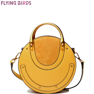 FLYING BIRDS Genuine Leather bag famous brands Women's handbag Designer Vintage metal leather bags bun rivet single shoulder bag