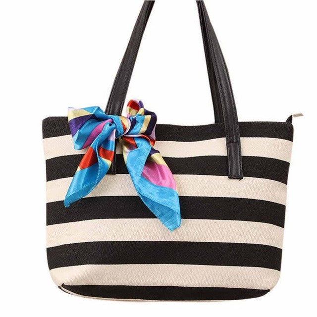 2016 Women Bags Shoulder Bag Tote Fashion Canvas Stripe Silk Scarf Bags Casual Women's Messenger Bags bolsa feminina para mujer