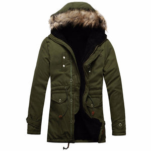 2017 Winter Jackets Coats Thick Warm Fashion Casual Windbreaker Slim Fit Fleece Hooded Long Men Parka Coat Outerwear Size L-3XL