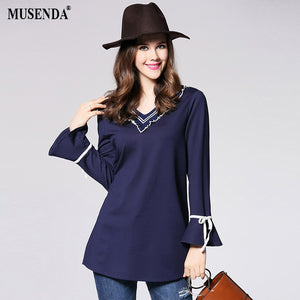 MUSENDA Plus Size 4XL 5XL Women Stretch Blue V-Neck Long Blouse 2017 Autumn Lady Fashion Casual Brief Shirt Office Street Tops